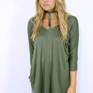 City Walk 3/4 Sleeve Tunic With Tie Collar