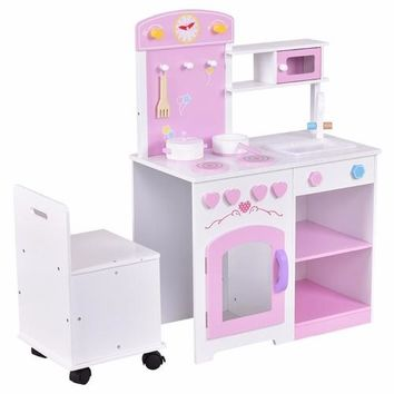 Girls 2 in 1 Kids Kitchen Play Set with Chair