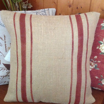 Burlap Pillow/Striped Grain Sack Pillow Cover with Rustic Red Stripes
