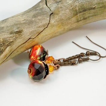 Copper Long Earrings, Lampwork Bead Earrings, Orange Black Earrings, Women's Earrings, Gifts for Her