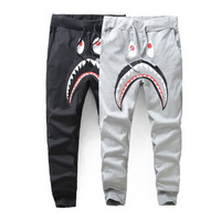 Harajuku Brand Gym Harem jogging pants Mens Sports Joggers Hip hop Streetwear Sweatpants Fleece Bape Shark Trousers joggers