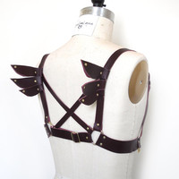 Sera Winged Leather Harness, Burgundy Leather, Steampunk, Cosplay Costume, Body Harness, Bondage BDSM, Burning Man, Gothic Lolita, Fetish