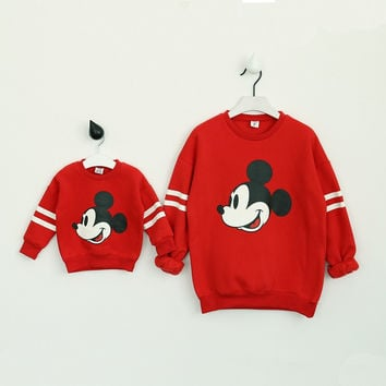 Family Matching Clothes Mother Daughter Oufits Set Minnie Mouse Cartoon Mickey Sweaters Boys Clothing New Year Costumes for Kids