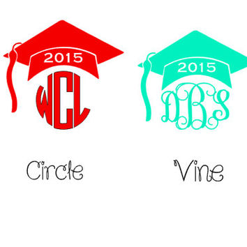 Graduation Decal, Graduation Gift, Graduation monogram, Monogram decal Vine Monogram , 2015 Graduation Class, Class of 2015