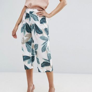 Missguided Tropical Print Culotte at asos.com