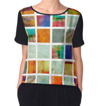 'Color Block Collage - original abstract art' Women's Chiffon Top by art64