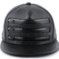 Muan 3 Zipper Leather Snapback Cap Black White (1. Black)