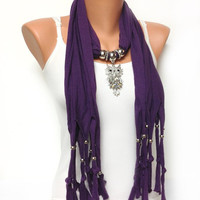 CYBER MONDAY SALE purple owl jewelry scarf - soft unique jewelry scarf with very pretty big pendant Christmas gift or for you