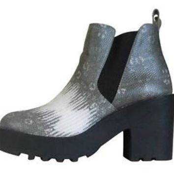 Platform Boot 7 Divided H&M Snakeskin Ankle Women Chunky Block Heel 38 Vegan