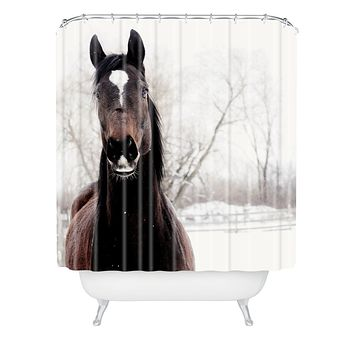 Chelsea Victoria Dark Horse Shower Curtain