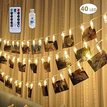 [Remote & Timer] 40 LED Photo Clip String Lights - Adecorty USB Powered Photo Clips Lights with 8 Modes, Twinkle Fairy String Lights, Christmas Gifts for Teen Girls Dorm Bedroom Decor,Warm White