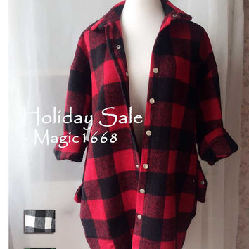 Red Black Green Plaid Coat, Autumn Winter Thick Oversize Coat. Winter Jackets. Boy-friend Style Coat. Women Winter Parka outwear, Large Size