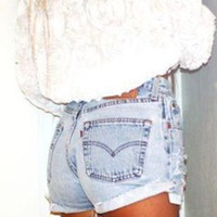 Mystery DISTRESSED High Waisted Shorts / Sexy Denim Shorts For Cool People: All Sizes