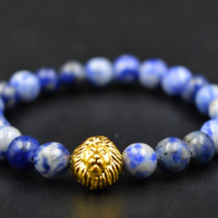 Blue and Ivory Bracelet with Gold Lion