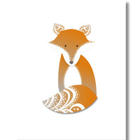 Fox Nursery Art. Fox Print. Woodland Nursery Art