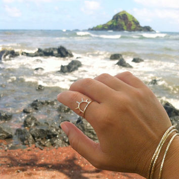 Gold Sun Ring, Sunrise, Sunset, Sunshine, Hammered Handmade Maui Jewelry, Metalwork, Boho Hippie Fashion, Christmas Gift Idea For Her, Rings