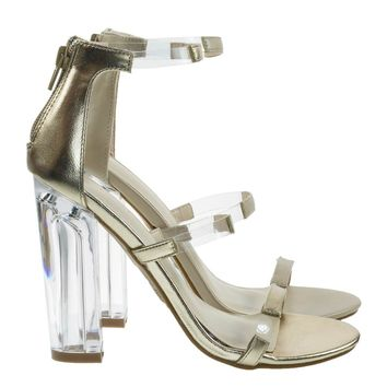 Hyphen07s Lucite Sandal w Perspex High Block Heel Transparent Strap
