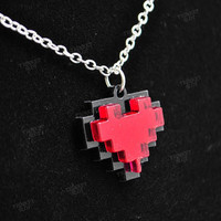 Minecraft 8 Bit Pixel Heart Necklace by TrinketSlotCom on Etsy
