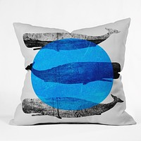 Elisabeth Fredriksson Whales Throw Pillow