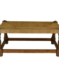 Oak Stool with Rush Seat Arts and Crafts English circa 1900