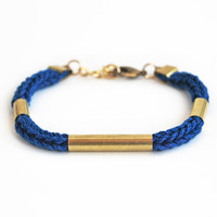 Cobalt blue bracelet with tubes, minimalistic stackable bracelet, knit cord bracelet, cotton rope bracelet, blue and gold