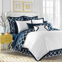 Jill Rosenwald Hampton Links Reversible Duvet Cover in Navy/White