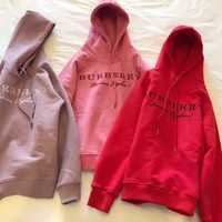 Burberry Women Embroidery LOGO Pullover Hoodie One-nice™