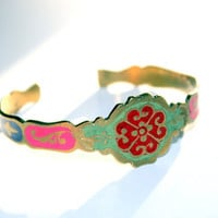Vintage Brass Painted Cuff Boho Tribal From India Large