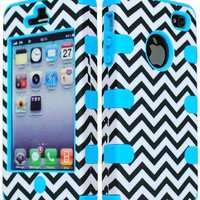 JUSTING@Black & White Chevron Pattern Hybrid Hard Shell Case for Iphone 4/4S with Free Screen Protector+Stylus Pen (blue)