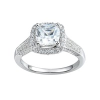 DiamonLuxe 2 1/4 Carat T.W. Simulated Diamond Sterling Silver Halo Ring (White)