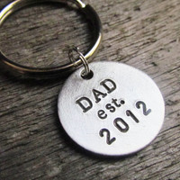 Hand Stamped Key Chain With Brushed Aluminum Charm NEW DAD Daddy Established YEAR Custom Made Personalized