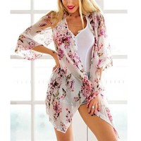 Floral Print Cardigan Cover Up