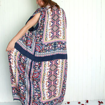 Long Aztec Bohemian Kimono, Summer Robe, Blue Light Dress, Boho Navy Coverup