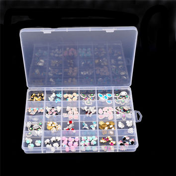 Plastic 24 Slots Adjustable Jewelry Storage Box Case Craft Organizer Beads container for lady girls organizing