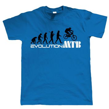 Evolution of Mountain Biker T-Shirt - Mountain Bikeer Birthday Gift for Dad Him Man Print T Shirt Hipster Top Tee Brand