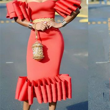 Women Bodycon Dress Off Shoulder Ruffles Pleat Sexy Party Clubwear Backless Dinner Evening Package Hip Tight Tunic ping