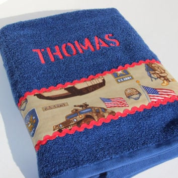 Custom Army Bath Towel, Military Towel, Father's Day, Personalized Towel