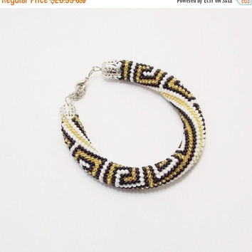CHRISTMAS SALE Meandr Bracelet white black golden bead crochet rope greek geometric rhombus seed beads gift for mom beadwork greek key aphro