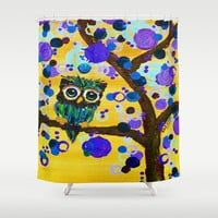 :: Sunshine Gemmy Owl :: Shower Curtain by :: GaleStorm Artworks ::
