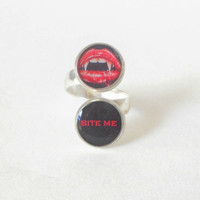 Adjustable Silver Halloween Ring, Resin Jewelry, Funny, Rude, Sarcastic, Goth, Cute, Vampire, Bite Me, Red, Black, Shiny