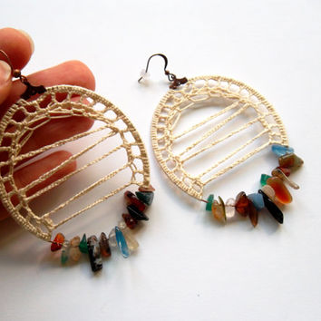Cream Beige Earrings, Boho Gypsy Hoops in Blue Green Orange, Earthy Natural Stone Bohemian Jewelry, Chip Beads Earrings, Fiber Textile Hoops
