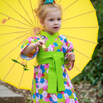 Kimono Dress in PANSY GARDEN - Girls Easter Dress - boutique girls dress Japanese Asian Style Yukata