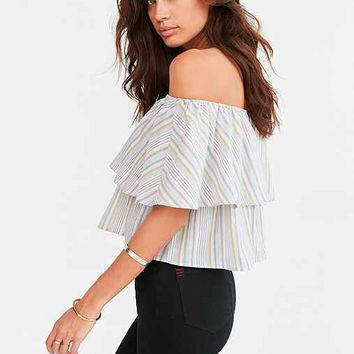Kimchi Blue Raquel Ruffle Stripe Off-The-Shoulder Blouse