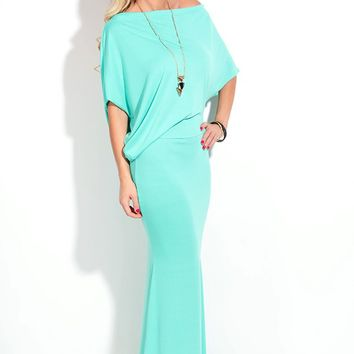 MINT OFF SHOULDERS SLEEVE MAXI DRESS