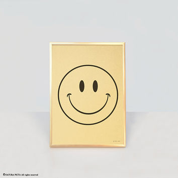 Smile print-smile gold print-smile wall art-home decor-positive print-motivational print-emoticon print-happy print-by NATURA PICTA-NPGP013