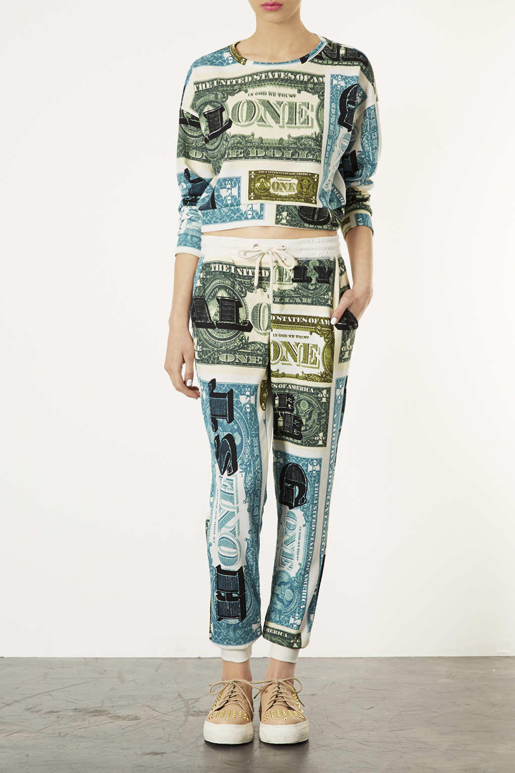 Dollar Word Print Joggers Pants From Topshop Epic