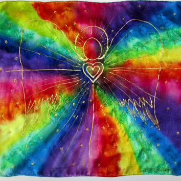 altar cloth, angel card cloth, Rainbow Angel Altar cloth, angel crystal grid, tarot card reading cloth,