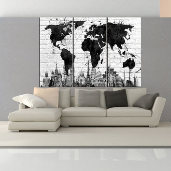 black and white  wall art world map canvas print,  wonder of the world World Map wall art, extra large wall art for home decor No:6S24