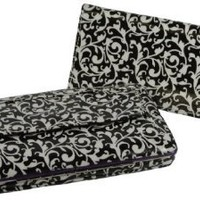 Texcyngoods Womens Flat Clutch Wallet Black Floral/Damask Print wCheckbook Cover (Purple)