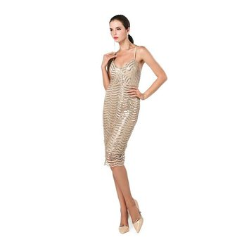 Gold Sequin Casual Cocktail Dress